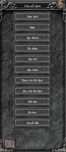 Cửa sổ lệnh trong game Mu Online