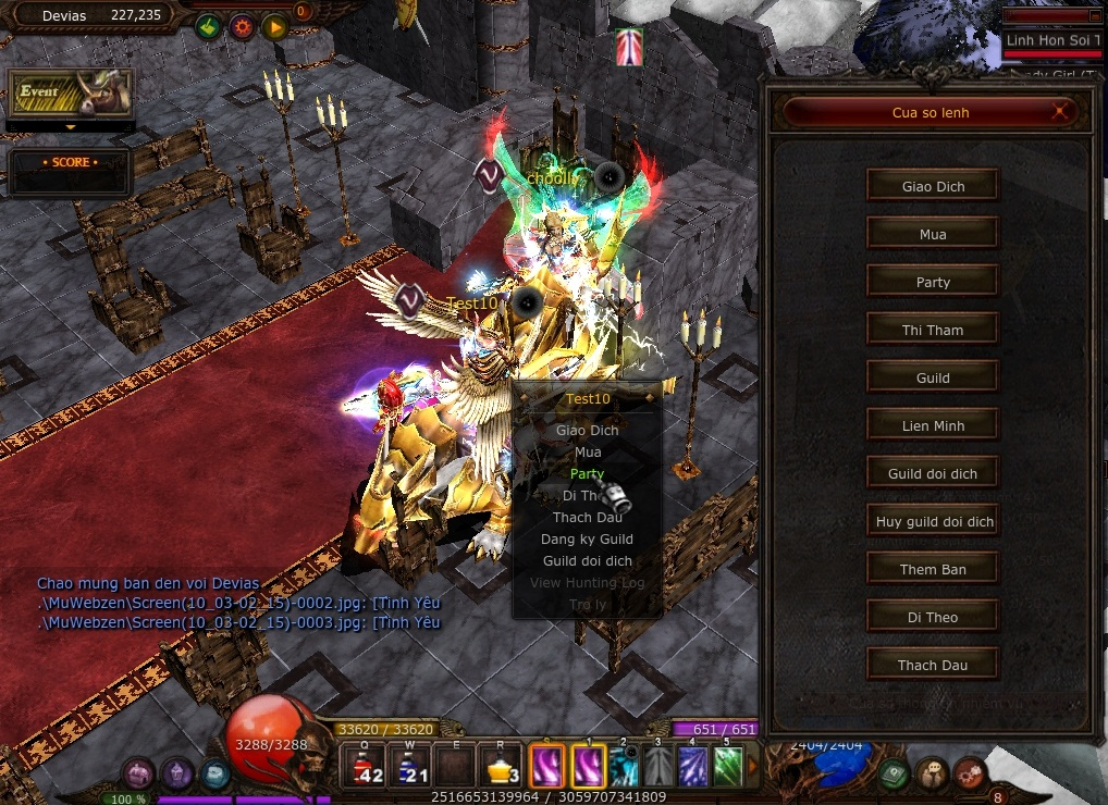 Party trong game Mu Online