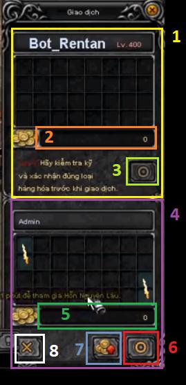 Cửa sổ giao dịch (trade) trong game Mu Online