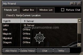 Danh sách bạn bè game Mu Online