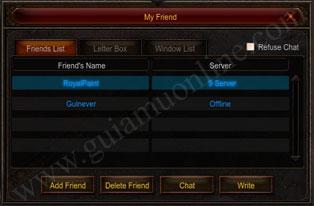 Danh sách bạn bè game Mu Online Season 12