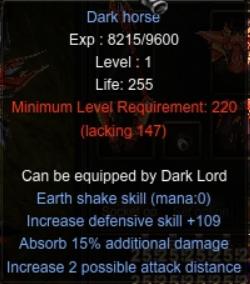 Dark Horse - Nhân vật Chúa Tể (DarkLord) game Mu Online